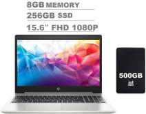 "2020 HP Probook 450 G6 15.6"" FHD Full HD(1920x1080) Anti-Glare Business Laptop (Intel Quad-Core i5-8265U, 8GB DDR4 RAM, 256GB SSD) Backlit, Type-C, HDMI 1.4b, RJ-45, Windows 10 Pro + IST 500GB"