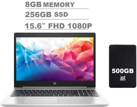 """2020 HP Probook 450 G6 15.6"""" FHD Full HD(1920x1080) Anti-Glare Business Laptop (Intel Quad-Core i5-8265U, 8GB DDR4 RAM, 256GB SSD) Backlit, Type-C, HDMI 1.4b, RJ-45, Windows 10 Pro + IST 500GB"""