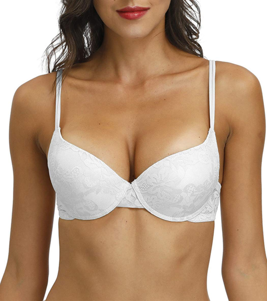 Push Up Bra for Women Demi Cup Padded Underwire Supportive Add Size Bras Lace Everyday Comfort