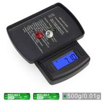 Ataller Mini Digital Pocket Scale,500g by 0.01g,Digital Grams Scale, Food Scale, Jewelry Scale Black, Kitchen Scale,Battery Included (Max: 500g d=0.01g)