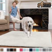GORILLA GRIP Original Faux-Chinchilla Area Rug, 3x5 Feet, Super Soft and Cozy High Pile Washable Carpet, Modern Rugs for Floor, Luxury Shag Carpets for Home, Nursery, Bed and Living Room, Ivory