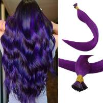"""Full Shine 20"""" I Tip Real Remy Hair Extensions 0.8g Per Strand 40g Per Package Brazilian Hair Extensions Purple Fusion Pastel Cheveux Humains Stratight Human Hair Extentions"""