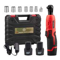"""AKM Cordless 3/8"""" Electric Ratchet Wrench Set,12V Power Ratchet Tool Kit With 2 Packs 2000mAh Lithium-Ion Battery and Charger,6-Piece 3/8"""" Metric Sockets and 1-Piece 1/4"""" Socket Adapter"""