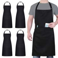 4 Pack Chef Apron, Black Apron with 2 Pockets, Waterproof Adjustable Bib Apron for Chef Men Women, Professional Apron for Kitchen Cooking Baking Painting BBQ