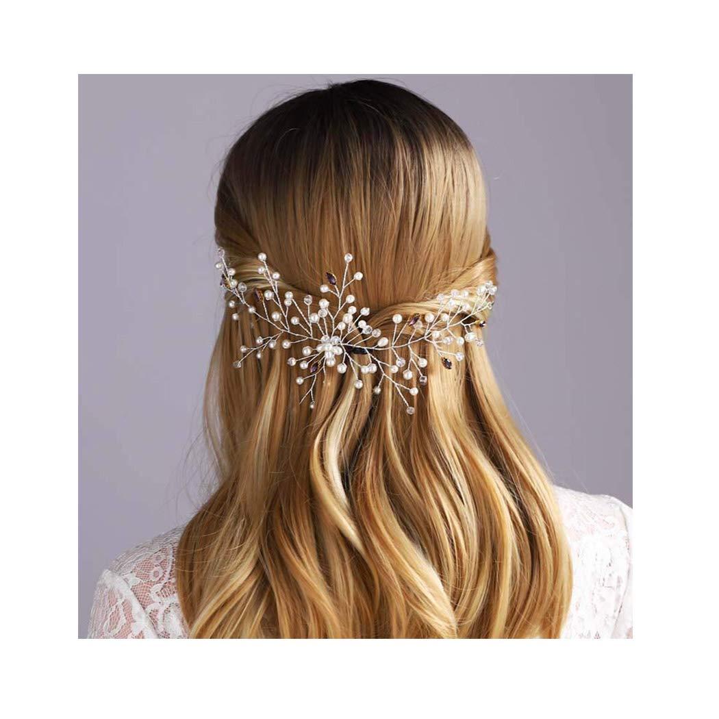 Campsis Crystal Bride Wedding Hair Vine Bridal Pearl Headpiece Headband Hair Accessories Gold Clip for Bride and Bridesmaid (silver)