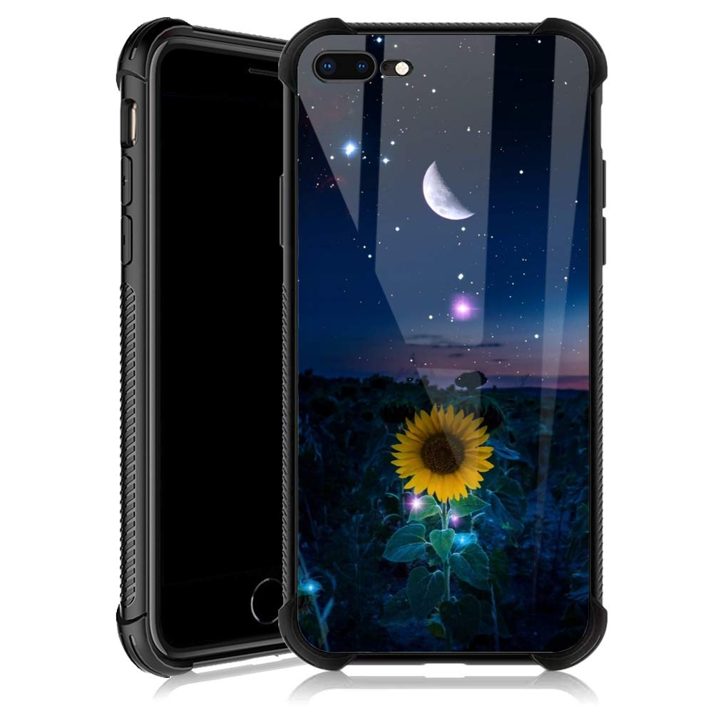 iPhone 7/8 Case,Sunflower Moon Star Sky iPhone SE2 Cases for Girls,Tempered Glass Back Cover Anti Scratch Reinforced Corners Soft TPU Bumper Shockproof Case for iPhone 7/8/SE2 Night Crescent