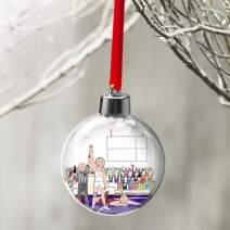 PrintedPerfection.com Personalized Friendly Folks Cartoon Globe Christmas Ornament: Wrestler, Wrestling Team - Male
