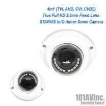 101AV 1080P SONY STARVIS True Full-HD 4in1 (TVI, AHD, CVI, CVBS) 2.8mm Fixed Lens Indoor Outdoor Dome Camera 20 meter IR Range DWDR OSD IP66
