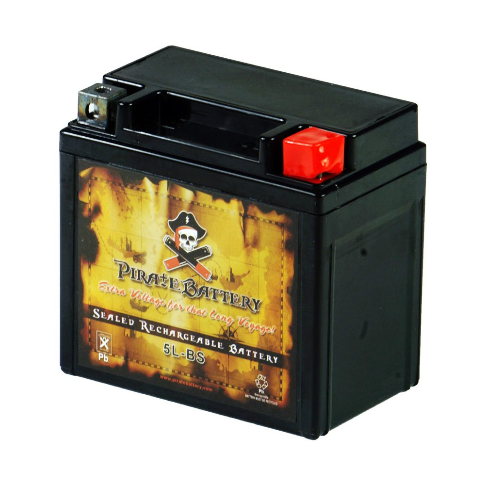 YTX5L-BS Replacement Motorcycle Battery - Rechargeable High Performance - AGM - Sealed Maintenance Free - Pirate Battery