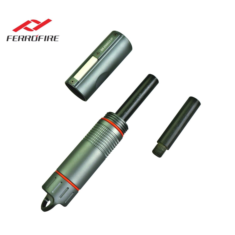 FERROFIRE XXL (S10E1), Survival Fire Starter, Multi-Function Survival Gear for bushcrafter, bushcraft Gear, EDC Gear with Replaceable Ferro Rod, Waterproof Capsule, Built-in Striker, Compass