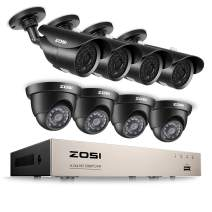 ZOSI 8CH Full 1080P HD-TVI Security Camera System Video DVR Recorder with (8) 2.0MP 1920TVL Bullet/Dome Weatherproof CCTV Cameras Motion Alert, Smartphone, PC Easy Remote Access NO Hard Drive