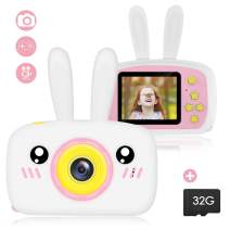Wallfire Kids Camera Toys Portable Mini Digital Rechargeable Camera with Rabbit Cover, 2 Screen 12MP Lens Video Camera Camcorder with 32G Memory Card, Best Birthday Gifts for Girls/Boys/School Student