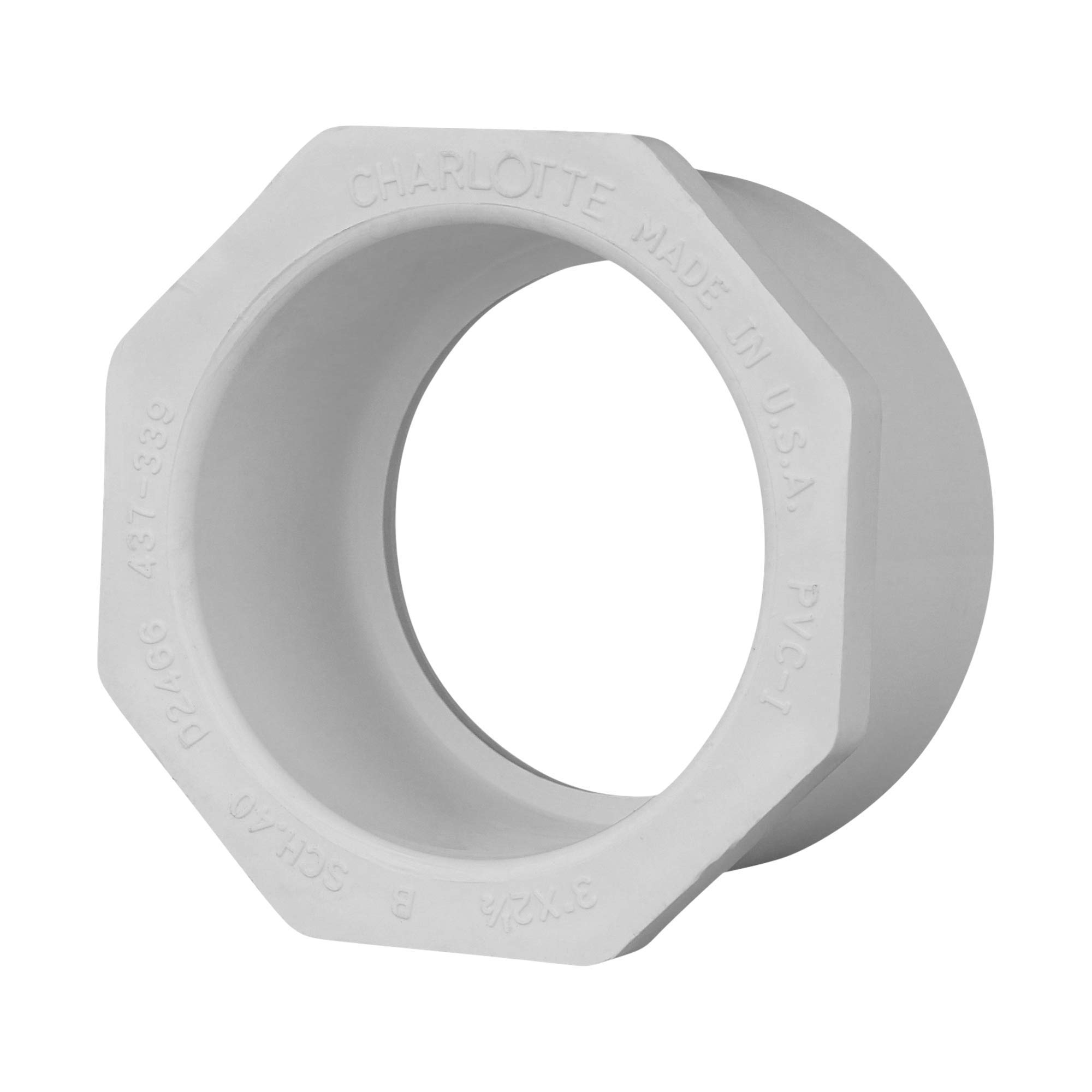 """Charlotte Pipe 3"""" X 2"""" Schedule 40 PVC 1/2"""" Reducer Bushing Pipe Fitting - (Spigot x Socket) Schedule 40 PVC Pressure Durable and Easy to Install for Home or Industrial Use (Single Unit)"""