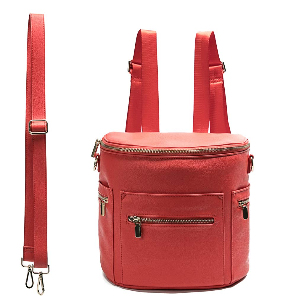 Leather Diaper Bag Backpack Purse by miss fong, Mini Backpack for mom with In bag organizer, Insulated Pocket and Shoulder Strap(Red)