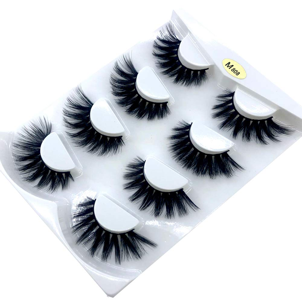 HBZGTLAD NEW 4 Pairs 3D Mink Hair False Eyelashes Criss-cross Wispy Cross Fluffy length 25mm Lashes Extension Handmade Eye Makeup Tools (M08)
