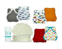 Tidy Tots Diapers Hassle Free 12 Diaper Snap Great Start Set with Hippos, Whales, TweetHeart, Grey, Orange, Red Covers