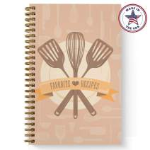 """Softcover Classic Recipes 5.5"""" x 8.5"""" Spiral Recipe Notebook/Journal, 120 Recipe Pages, Durable Gloss Laminated Cover, Gold Wire-o Spiral. Made in the USA"""