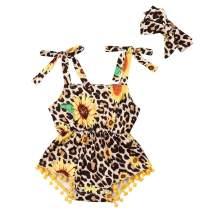 Infant Baby Girl Sleeveless Sunflower Leopard Romper Pompoms Jumpsuit Headband Outfit Set