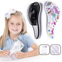 Hair Brush Activity Gift Set for Crafty Girls - Kids will Love to Color in & Decorate their Cute Detangler Hairbrush- Pens & Gemstones included! Unicorn & Mermaid Art Design- Birthday Present, 5 yrs +