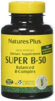 NaturesPlus Super B50 - 90 Vegetarian Capsules - High Potency B Complex Vitamin Supplement - Brain & Energy Booster - Gluten-Free - 90 Servings
