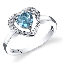 14K White Gold Swiss Blue Topaz Diamond Heart Shape Promise Ring 1 Carats Total