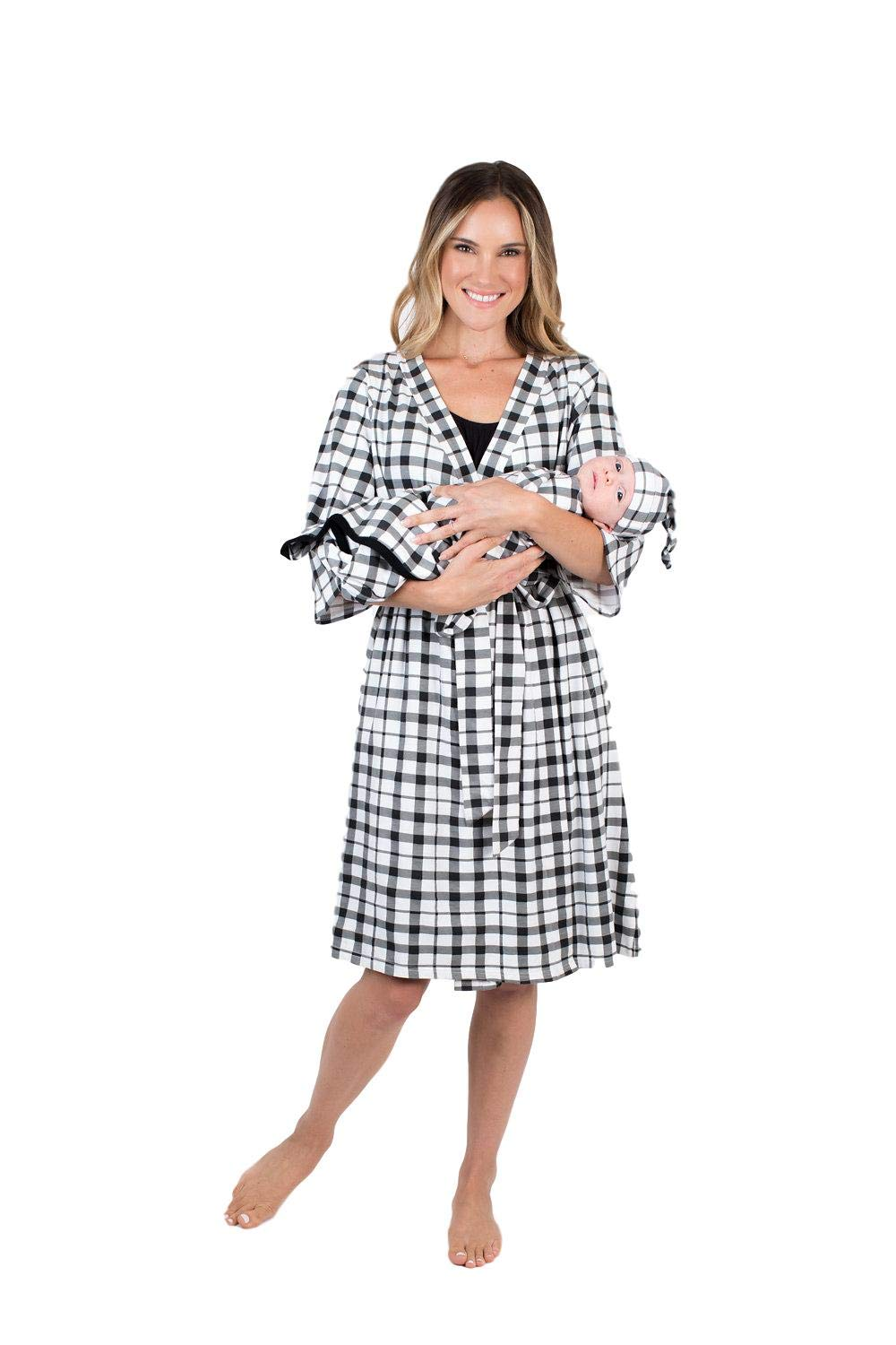 Matching Delivery Robe And Swaddle Blanket Set Mom And Baby S M 2 10 Black Gingham