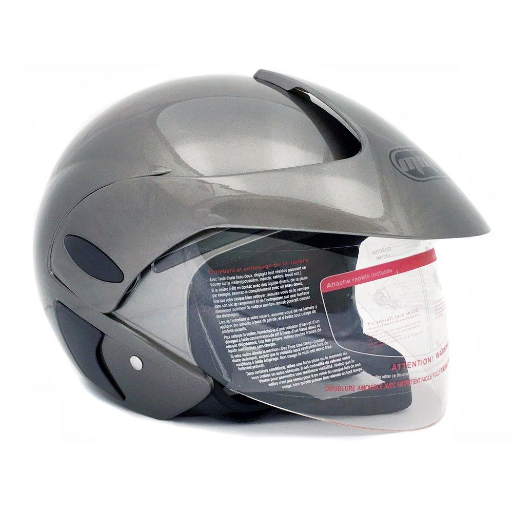 MMG 203 Motorcycle Open Face Helmet DOT Street Legal - Flip Up Clear Visor. Medium, Grey