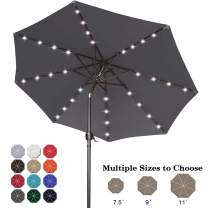ABCCANOPY 9FT Patio Umbrella Ourdoor Solar Umbrella LED Umbrellas with 32LED Lights, Tilt and Crank Table Umbrellas for Garden, Deck, Backyard and Pool,12+Colors,(Dark Gray)