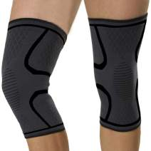 KIWI RATA Athletics Knee Brace Compression Sleeve (1 Pair) Effective Support for Running, Jogging, Volleyball, Sports, Gym, Joint Pain Relief, Men Women