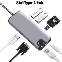 8in1 USB C Hub,Type-C Adapter,USB-C Dock Dongle,HDMI 4K Video,RJ45 Gigabit Ethernet VGA Adapter,USB-C hub SD/TF Card Reader, USB 3.0 and Type-A Port,for MacBook Pro Huawei MateBook(Gray)