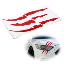 iJDMTOY (1) Reflective Red Headlight Eye Scar or Claw Scratch Shape Vinyl Decal Set Compatible With Car Truck SUV