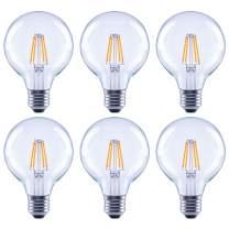 Global Value Lighting FG-03181 40-Watt Equivalent G25 Clear Glass Filament Dimmable Vintage LED Light Bulb, 6-Pack