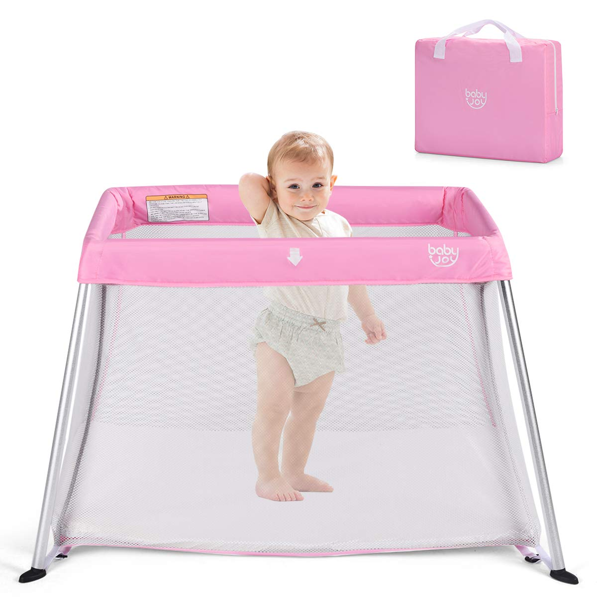 BABY JOY Baby Foldable Travel Crib, 2 in 1 Portable Playpen with Soft Washable Mattress, Easy to Pack and Install with Comfortable Mattress and Oxford Carry Bag for Infant Toddler Newborn, Pink