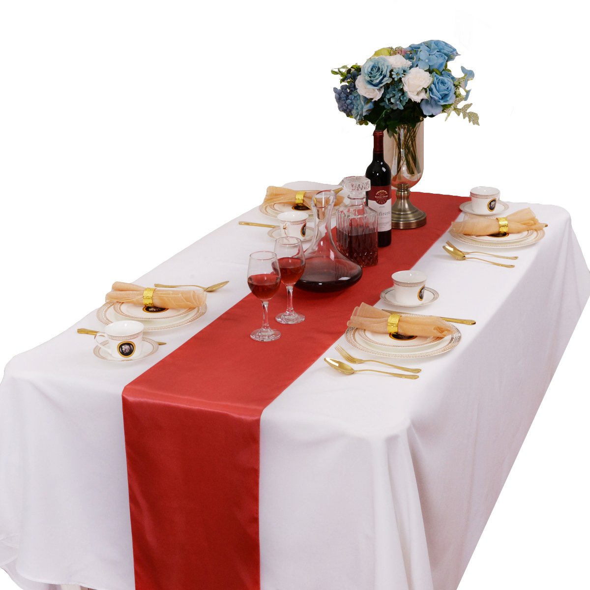 LOVWY 12 x 108 Inches Pack of 20 PCS Satin Table Runner for Wedding Party Engagement Event Birthday Graduation Banquet Decoration (Colors Optional) (Coral)