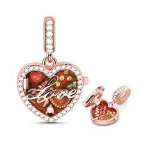 GNOCE Chocolate Box Charm Pendant Sterling Silver A Box of Love 18K Rose Gold Plated Charm Bead Fit Bracelet/Necklace for Women