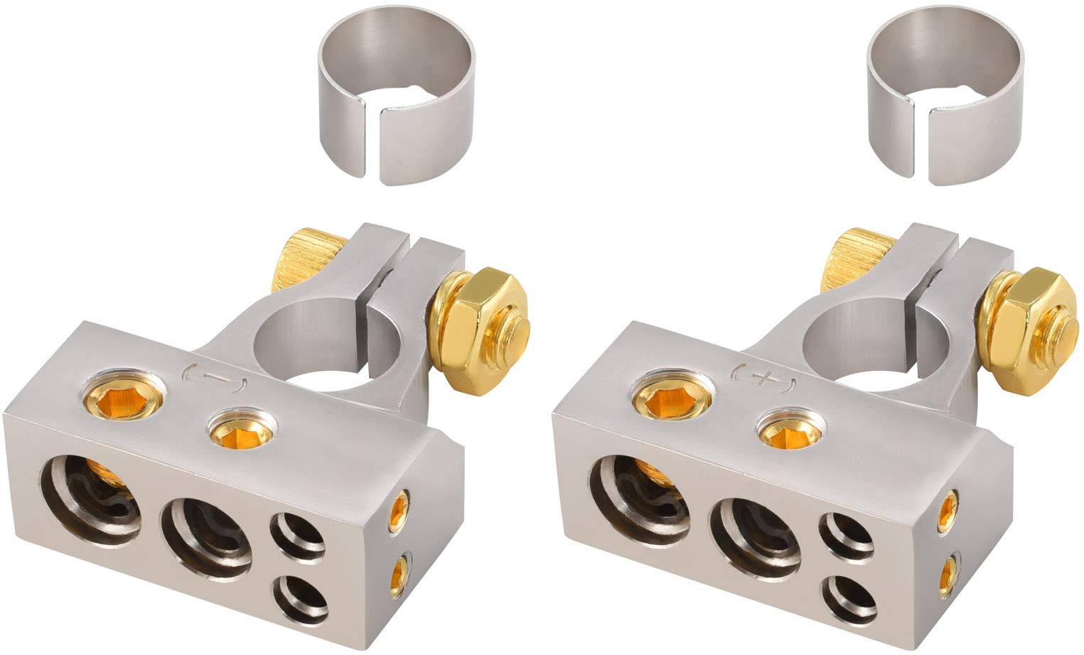 InstallGear 2/4/8/10 Gauge AWG Positive & Negative Battery Terminal Clamp and Shims (Pair)