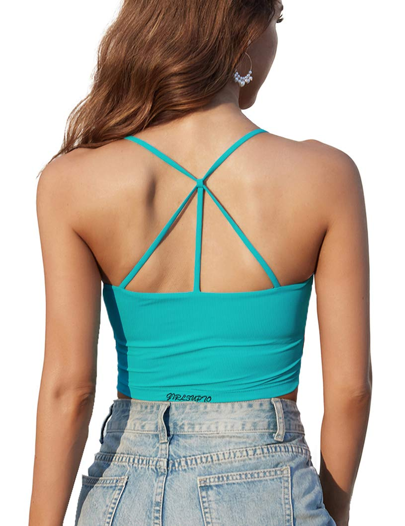 Padded Strappy Crop Tank Tops for Women Ribbed Longline Sports Bra Workout Yoga Top Running Shirts Casual Basic Cami