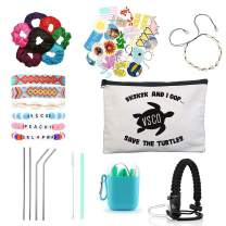 VSCO Girl Stuff – Paracord Handle Flask Stickers for Water Bottles, Silicone Straw with Case, Shell Necklace, Friendship Bracelets in a Cosmetic Bag Teen Accessories Kit