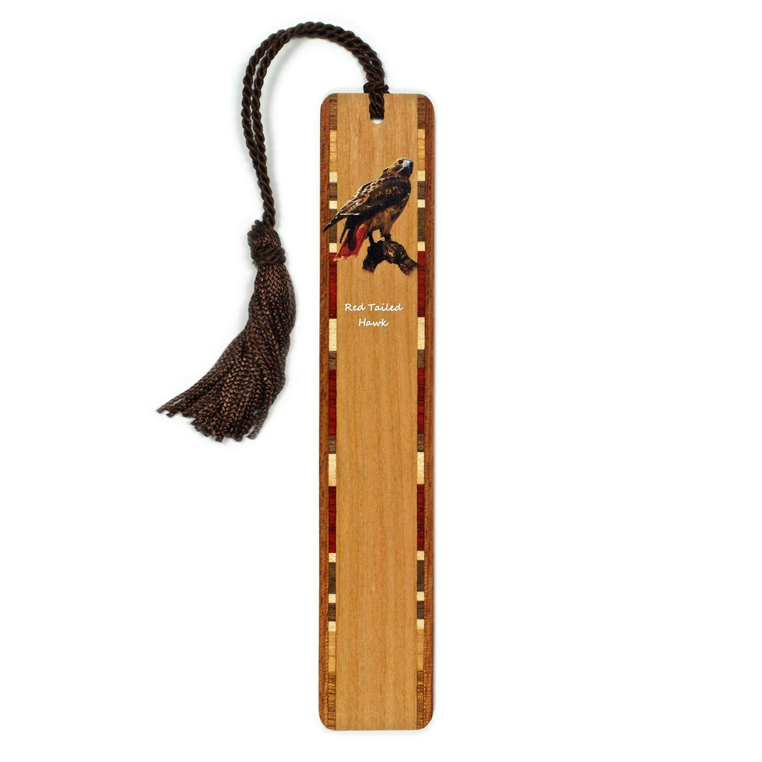 Mitercraft Red Tailed Hawk (Double Sided) Wooden Bookmark with Tassel - Search B07QY547TF for Personalized Version