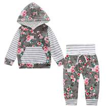 YEASQGS Baby Boys Girls Clothes Toddler Unisex Plaid Floral Pocket Hoodie Pants Long Sleeve 2 Piece Outfit 0-5 Years