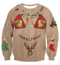 Enlifety Men Women Ugly Christmas Sweatshirts Funny 3D Printed Sweater Unisex Santa Xmas Pullover Jumpers Graphic Tee Shirts