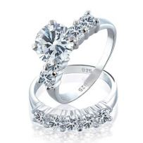3.5CT Round Brilliant Cut Solitaire AAA CZ Engagement Wedding Band Ring Set For Women 925 Sterling Silver