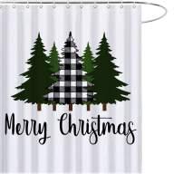 MAEZAP Christmas Farmhouse Shower Curtain Buffalo Black White Tree Bathroom Decor Waterproof Polyester with Hooks 69x70 Inchs
