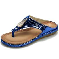 Women's Flip Flops Sandals Soft Casual Sandals for Women Beach Wear Comfort Thong Style in Summer or Holiday - Crystal Blue 7 M US