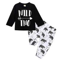 Birthday Outfit Newborn Baby Boys Wild Two Top + Bear Print Long Pant 2st Birthday Set