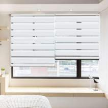 """LUCKUP Horizontal Window Shade Blind Zebra Dual Roller Blinds Day and Night Blinds Curtains,Easy to Install 41.3"""" x 90"""" White"""