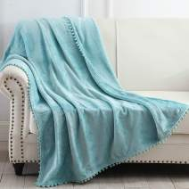 """NordECO HOME Flannel Throw Blanket - Soft Cozy Warm Blanket with Pompom Fringe for Couch Bed Sofa Chair, 50"""" x 60"""", Teal Blue"""