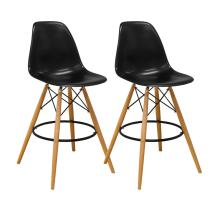 Mod Made Mid Century Modern Armless Paris Tower Barstool Chair with Natural Wood Legs for Bar or Kitchen- Black (Set of 2)