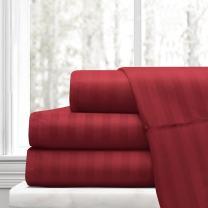 ARlinen Sheet Set King Size Burgundy Stripe Fit Mattress up to 15 Inch Deep Pocket Egyptian Cotton 400-Thread-Count Premium Quality 4 PCs Bedding Bed Sheet Sets.