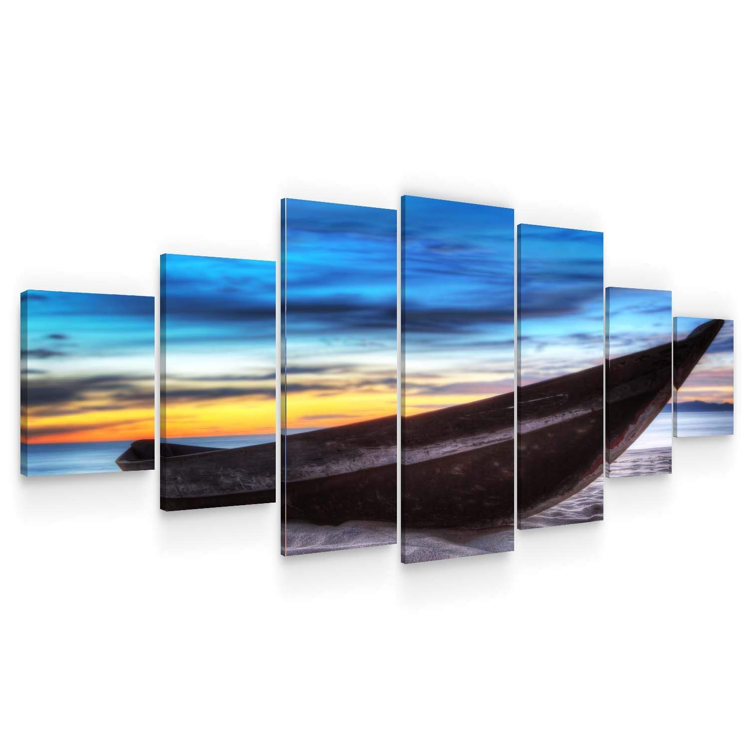 Startonight Huge Canvas Wall Art - Long Boat on The Beach, Nature Landscapes Winter Large Framed Set of 7 40 x 95 Inches